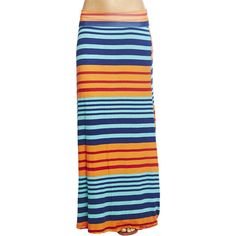 Variegated Stripe Maxi Skirt ($20) ❤ liked on Polyvore featuring skirts, multi colored, wet seal maxi skirt, blue striped skirt, multi colored maxi skirt, maxi skirt and foldover maxi skirt