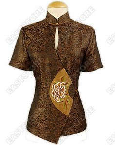 This chic Peony Embroidered Xiang Yun Sha Blouse integrates traditional Chinese design with a...