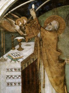 SIMONE MARTINI Miraculous Mass (detail) 1320-25 Fresco Cappella di San Martino