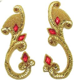 "Designer Motif Pair with Gold Sequins Beads and Red Jewel 6"" x 2"""