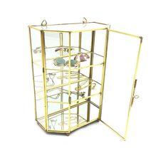 Mini glass brass curio display cabinet. Mini glass by SprinkelHop