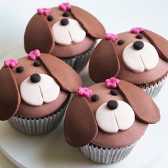 New Cupcakes Fondant Chocolate Ganache Ideas Cookies Cupcake, Puppy Cupcakes, Cupcake Day, Animal Cupcakes, Fondant Toppers, Fondant Cupcakes, Cake Decorating Tips, Cookie Decorating, Cupcakes Cool
