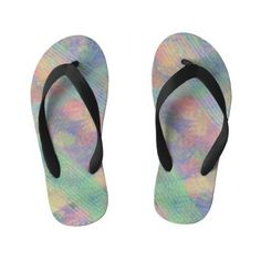 Fun Pastel Multi Color Abstract Kid's Flip Flops Flip Flop Craft, Girls Flip Flops, Flipping, Holiday Cards, Amber, Pastel, Abstract, Unique, Kids