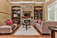 rock fireplace insert with tv above - Google Search