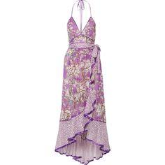 Marc JacobsRuffled Printed Cotton And Silk-blend Halterneck Dress (€885) ❤ liked on Polyvore featuring dresses, lilac, halter-neck tops, polka dot dresses, purple halter dress, halter top and purple ruffle dress