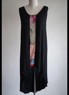 Black Kimono Panel Dress