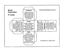Cubing: Cubing is an instructional strategy designed to help students think about a topic or idea from many different angles. A cube includes 6 commands, one on each of its six faces, followed by a prompt that describes the task the students should do related to the command. Cubing can help students think at different levels of Bloom's Taxonomy.  http://2differentiate.pbworks.com/w/page/860043/Cubing