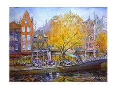 Amsterdam River swans Watercolor Painting by HeartBeadsSupply