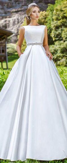 Glamorous Satin Bateau Neckline A-Line Wedding Dress With Lace Appliques & Belt
