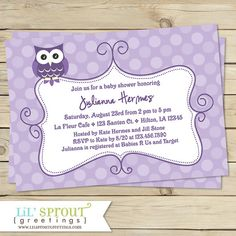 Owl Purple Lavender Baby Shower Invitation by lilsproutgreetings, $16.00