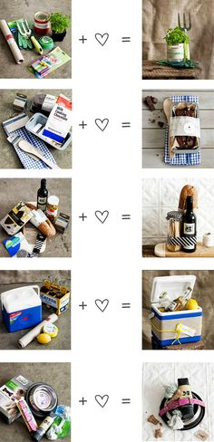 Great ideas for gift baskets.