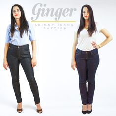 Introducing the Ginger Skinny Jeans pattern. Includes two options: low waisted stovepipe and highwaisted skinny leg. Make your own jeans like a DIY ninja!