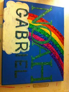 Rainbow for baby sequin mosaic $25.00 #teresascanvascreations