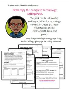 Technology Writing Prompts: Grades 3-12... by Satterfield-Brown Technology | Teachers Pay Teachers