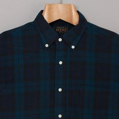 Beams Plus SS Button Down Shirt in Black Watch Check