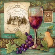 """Custom & Cool {3.5"""" Inches} Set Pack of 4 Square """"Grip Texture"""" Drink Cup Coasters Made of Flexible Poly Fabric w/ Rubber Bottom & Wine Glass & Grapes Painting Design [Colorful Green, Red & Purple]"""