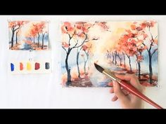 Autumn Alley. Step by step watercolor tutorial. Part 1 - YouTube