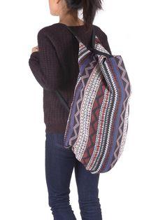 2 in 1 Aztec Cotton Backpack & Shoulder Bag - Blue - Forgotten Tribes