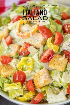 Creamy Italiano Salad - Romaine, tomatoes, thinly sliced seedless cucumbers, sliced banana peppers, croutons and homemade Creamy Italiano dressing. Over The Top, Bacon Chips, Pumpkin Risotto, Romaine Salad, Homemade Lasagna, Stuffed Banana Peppers, Recipes With Banana Peppers, Mayonnaise, Fresco