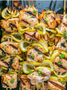Grilled Salmon Skewers with Garlic and Dijon