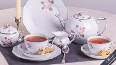 Vienna Rose-Platinum Essential Tea-Set for 2 Persons - Herend Porcelain Fine China, High Tea, Vienna, Tea Time, Tea Party, Tea Cups, Pottery, Hand Painted, Plates