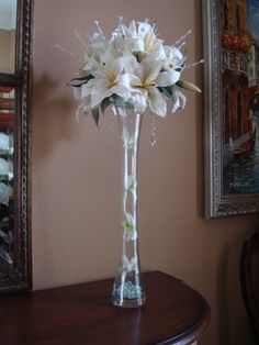 Items similar to Tall Lily and Rose Floral Arrangement on Etsy Diy Wedding Flowers, Flower Bouquet Wedding, Floral Wedding, Eiffel Tower Centerpiece, Eiffel Tower Vases, Quinceanera Centerpieces, Wedding Centerpieces, Wedding Arrangements, Floral Arrangements
