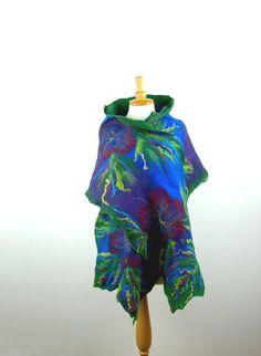 Felted scarf nuno felt scarf merino wool shawl felt flower green cobalt blue royal blue cornflower purple multicolor felted art winter on Etsy, Felt Flower Scarf, Nuno Felt Scarf, Felt Flowers, Felted Scarf, Nuno Felting, Felt Diy, Silk Fabric, Scarf Wrap, Merino Wool