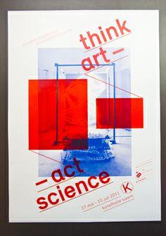 Think Art – Act Science - Kunsthalle Luzern. Grafik für Einladungskarte und Plakate im Corporate Design der Kunsthalle Luzern