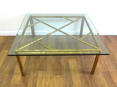 Vintage Gilded Faux Bamboo Square Coffee Table - Mecox Gardens