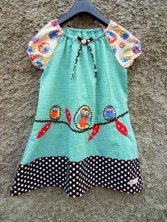 Vogel+Bird+Kleid+Tunika+Eulen+auf+Ast+karo+von+Zellmann+Fashion+auf+DaWanda.com
