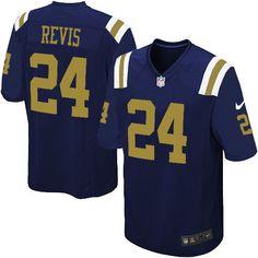 Game Mens Nike New York Jets #24 Darrelle Revis Alternate Navy Blue NFL Jersey