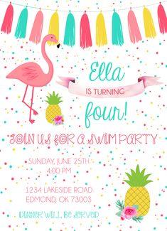 Flamingo Birthday Invitation. Pineapple. Tassel Banner. Swim Party. Cute Invitation. Colorful Custom Birthday Invitations, Flamingo Birthday, Tassel, Pineapple, Birthday Parties, Banner, Swim, Party Ideas, Colorful