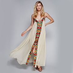 Floral Embroidery Boho Maxi Dresses Summer Spaghetti Strap Lace Tied Slit Ethnic Hippie Style Vintage Holiday Party Dresses HOT #Affiliate