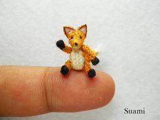 Cute Brown Fox  Micro Crochet Dollhouse Miniature Foxes  von SuAmi, $52.00