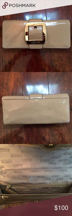NWOT MICHAEL KORS NUDE PATENT CLUTCH Never been used. Still have original tag from store I purchased from, it's just detached. Michael Kors Bags Clutches & Wristlets