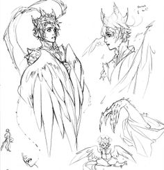 A pencil sketch page from my notebook. One of my super old characters, (a harpy prince, basically the one male lion in a sea of ladies) and the whole idea behind him was to make him look as innocent and harmless as possible. (And covered in whatever royal finery humans gather and dump on him, like celebrities and their gucci-covered dogs) I'm trying to give him a bit of a redesign since it's been so long, and sketches like this in front of my TV are usually the best brainstorm sessions.