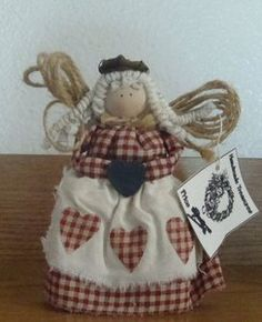 HANDMADE-wood-and-Gingham-Check-Cloth-Standing-Country-ANGEL-Doll-5-NEW