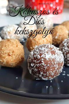 Többféles sütés nélküli desszert: kókuszgolyó, diós kekszgolyó, nyers kókuszgolyó, energiagolyó, sütőtökös golyó....finom, gyors nasik Muffin, Breakfast, Dios, Morning Coffee, Muffins, Cupcakes
