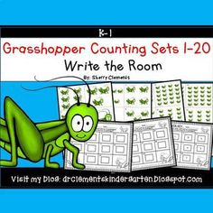 50% off for 24 hrs~(until 11:59 PM EST 03/15/17) Grasshopper Write the Room (Counting Sets 1-20) This resource includes four pages of numbered cards in color with a total of 20 cards. Each numbered card has a set of grasshoppers to represent each number 1-20.