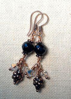 Rainbow Obsidian Copper and Swarovski Crystal by Justatishdesigns