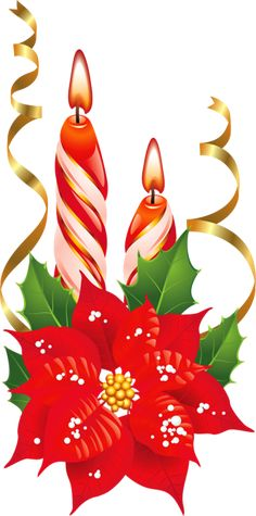 Red and White Christmas Candles with Poinsettia PNG Picture