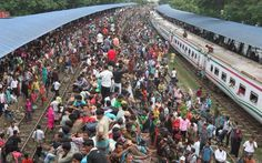 People, people everywhere...This is how people travel in trains during holiday season..