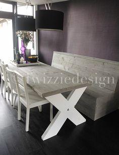 Twizziedesign steigerhout tafel met bank Door twizziedesign