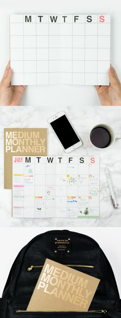 It is a simple monthly planner that allows you organize up to 17 months. The front cover is accentuated with gold foil, which makes the planner unique and stand out! It has an ideal size and is also light, so you can carry this planner with you and enjoy the organized life anytime, anywhere!