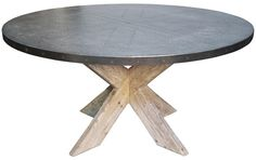 :: NOIR :: Austin Zinc Top Table GTAB471 Round Dia 60 or 54 H 30 #5Foot #Dining
