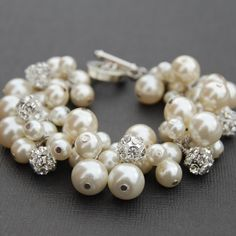 Bridal Jewelry, Ivory Pearl Rhinestone Bracelet, Pearl Wedding Jewelry, Bridesmaid Gifts, Brides Jewelry. $34.00, via Etsy.