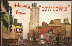 Fort Worth, Texas TX - Houston Street at Dusk 1962 Vintage Postcard old cars stores