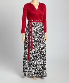 Burgundy & Black Floral Surplice Maxi Dress - Plus