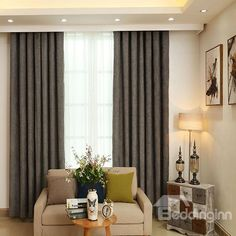 High-Quality Imitation Wool Pure Colored Grommet Blackout Curtain Panel #home #decor