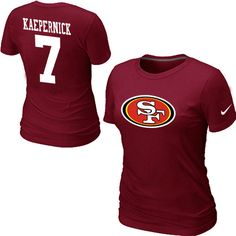 Nike San Francisco 49 ers 7 Kaepernick Name  Number Womens TShirt Red1 49 T  Shirts For 66c81ff7df6d7